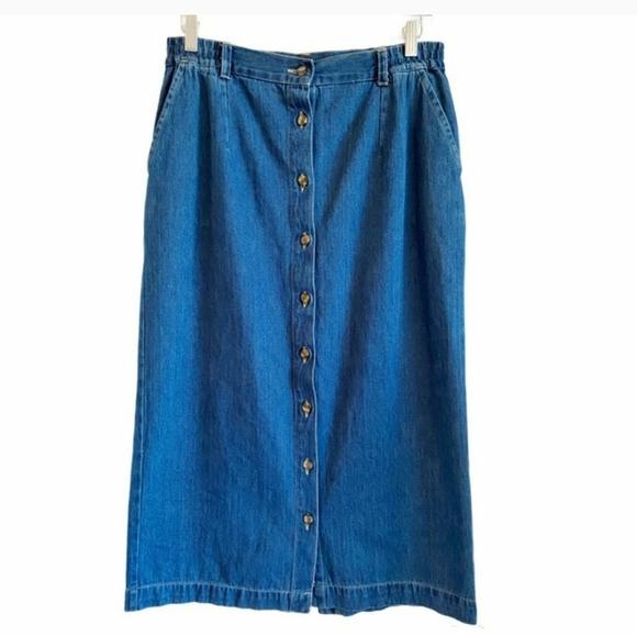 Vintage 90's midi button down jean skirt